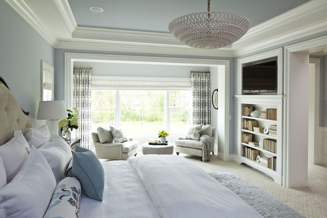 Geappliances.com Bedroom Traditional with Accessories Bed Bedding Blue Bookcase Built in Shelves Calm