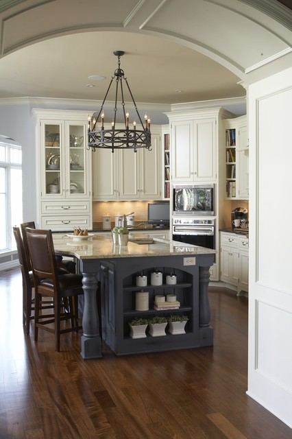 Geappliances.com Kitchen Traditional with Archway Blue Chandelier Curved Edge Glass Door Cabinets Island