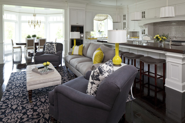 Geappliances.com Living Room Traditional with Area Rug Black Floor Cabinetry Chartreuse Decorative Pillows Dining