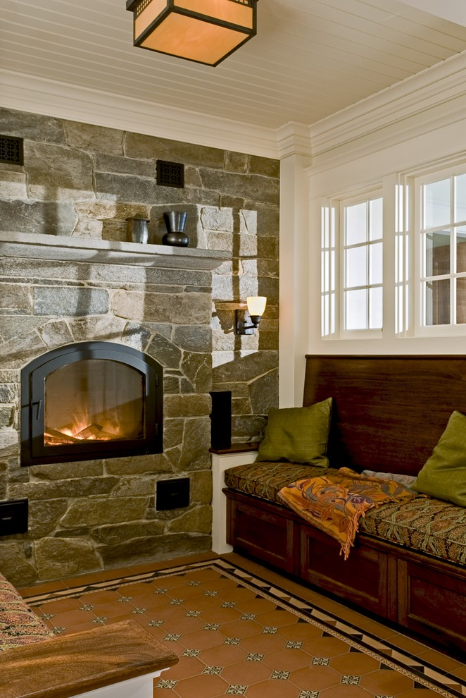 Gel Fireplace Insert Living Room Rustic with Accent Tiles Built in Bench Crown Molding