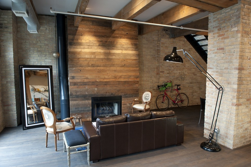 gel fireplace insert Living Room Rustic with brick wall exposed beams great room high