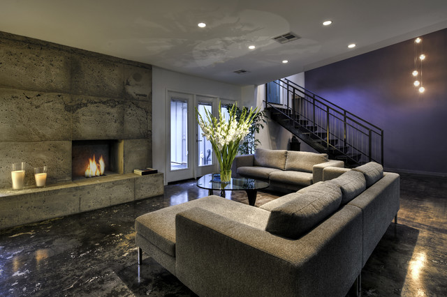 Gel Fuel Fireplace Basement Contemporary with Blue Concrete Couch Fireplace Fuel Marble Metal Open Stair