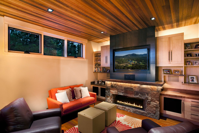 Gel Fuel Fireplace Family Room Contemporary with Bookcase Bookshelves Built in Storage Built Ins Ceiling Lighting