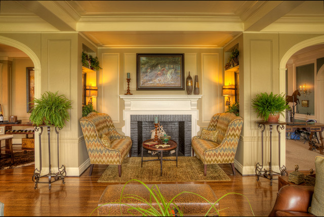 Gel Fuel Fireplace Family Room Traditional with Accent Chairs Area Rug Beige Walls Bench Seating Brick