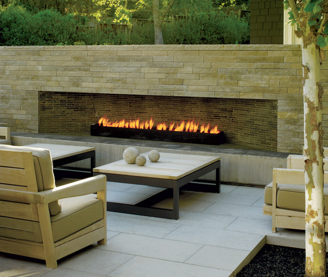 Gel Fuel Fireplace Patio Contemporary with Birch Tree Neutral Colors Outdoor Cushions Outdoor Fireplace Patio