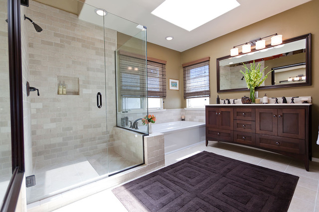 Gel Pro Mats Bathroom Traditional with Bath Mat Ceiling Lighting Double Sinks Double Vanity Frameless