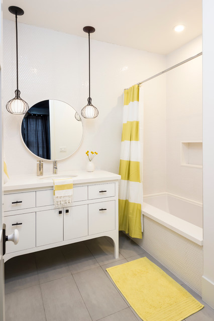 Gel Pro Mats Bathroom Transitional with Gray Tile Floor Penny Tile Round Mirror Striped Shower