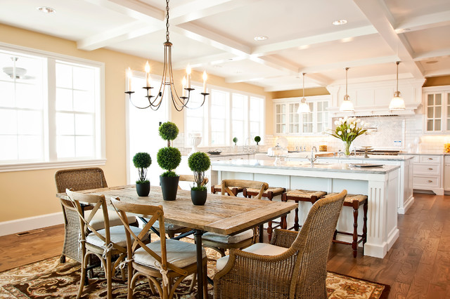 Gel Pro Mats Dining Room Traditional with Area Rug Chandelier Coffered Ceiling Double Hung Windows Hardwood