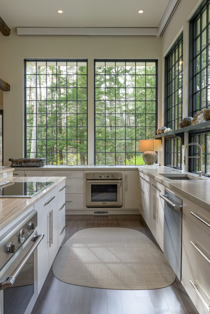 Gel Pro Mats Kitchen Transitional with Bar Pulls Large Windows Natural Light Tall Ceilings