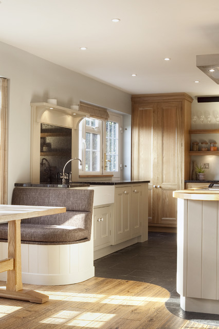 Generator Interlock Kit Kitchen Traditional with Apron Sink Banquette Seating Bespoke Family Granite Counters Grey
