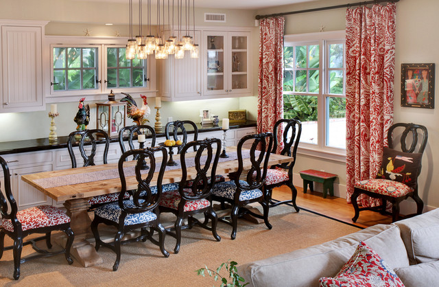 Ginger Jar Lamps Dining Room Farmhouse with Area Rug Beadboard Black Countertop Black Dining Chairs Cove