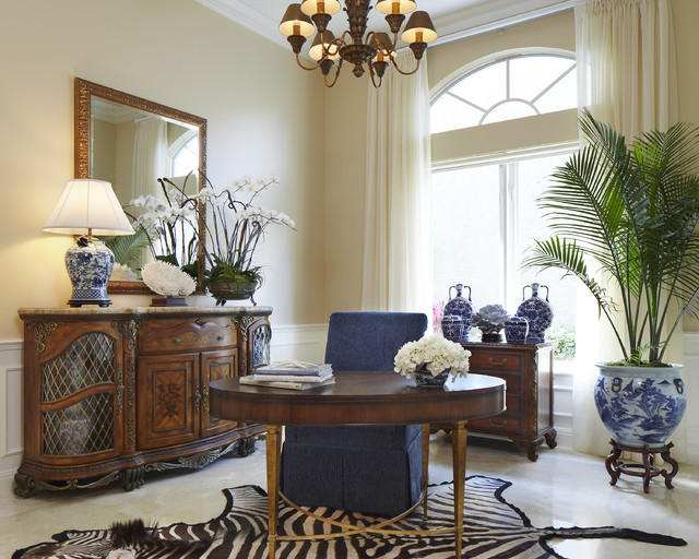 Ginger Jar Lamps Home Office Traditional with Animal Hide Rug Antique Credenza Arch Window Beige Walls