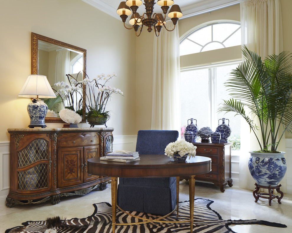 Ginger Jar Lamps Home Office Traditional with Animal Hide Rug Antique Credenza Arch Window