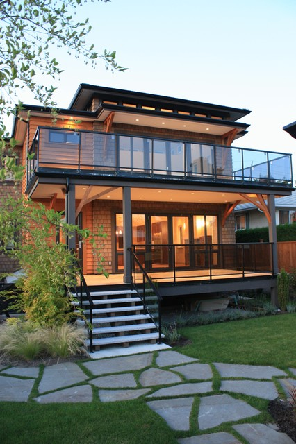 Glass Deck Railing Exterior Contemporary with Balcony Covered Deck Glass Guards Glass Railing Granite Stair1