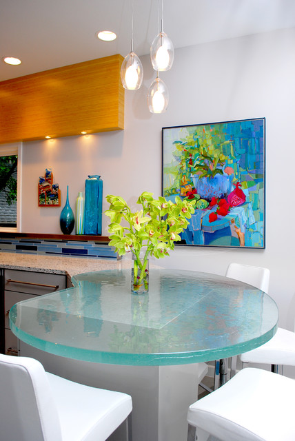 Glass Nesting Tables Kitchen Contemporary with Artwork Blue Tile Countertops Eat in Kitchen Glass Dining