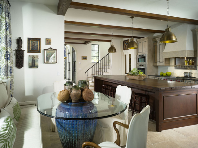Glass Nesting Tables Kitchen Mediterranean with Banquette Bar Stools Barstools Breakfast Bar Ceiling Lighting Centerpiece