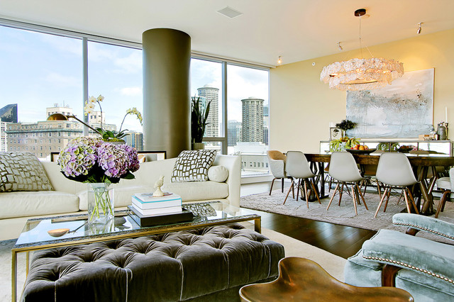Glass Nesting Tables Living Room Contemporary with Artwork Beige Wall Chandelier City View Eclectic Glamorous Glass