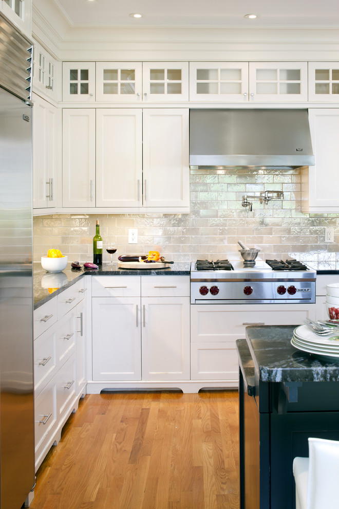 Glass Subway Tile Backsplash Kitchen Victorian with Ceiling Lighting Glass Front Cabinets Iridescent White