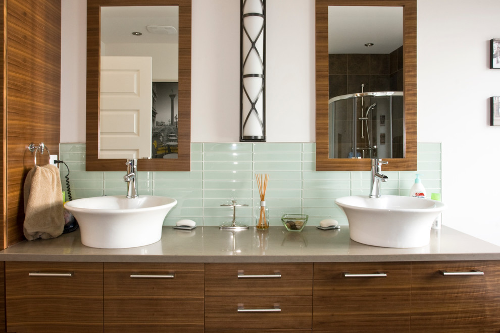 Glass Tile Backsplash Pictures Bathroom  Contemporary With Dark Wood Cabinets Double Sink Grey Countertop
