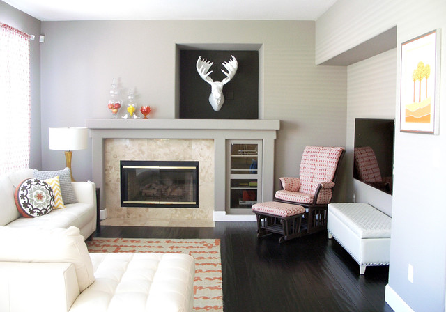 Glider Chairs Family Room Contemporary with Bench Seat Chevron Pillow Fireplace Hand Scrapped Hardwood Floor