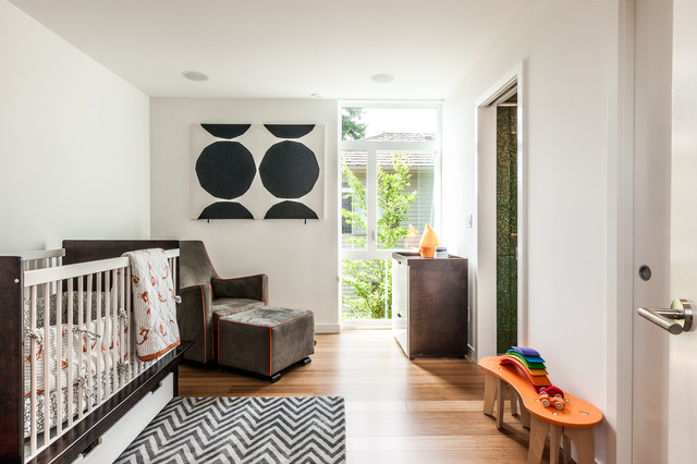 Glider Chairs Nursery Contemporary with Casement Windows Changing Table Chevron Rug Crib Crib Bedding