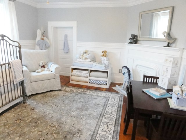 Glider Chairs Nursery Traditional with Area Rug Blanket Storage Corner Fireplace Crown Molding Floral