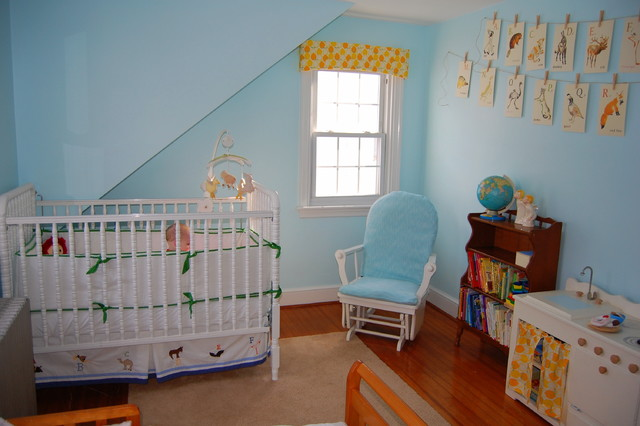 Glider for Nursery Nursery Eclectic with Area Rug Baseboard Blue Wall Bookcase Clothesline Crib Crib