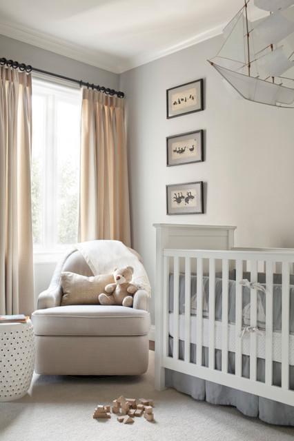 Glider for Nursery Nursery Transitional with Baby Boy Beige Curtains Beige Throw Pillow Beige Upholstered