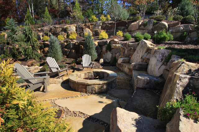 Glider Rocking Chairs Landscape Traditional with Adirondack Chair Boulders Council Ring Custom Home Remodeling Custom