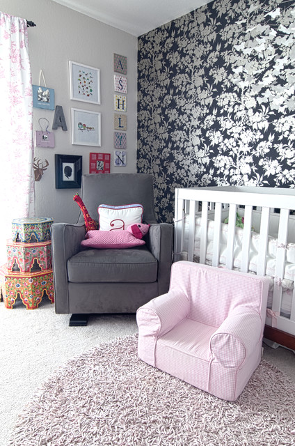 Glider Rocking Chairs Nursery Shabby Chic with Accent Wall Floral Wallpaper Gallery Wall Glider Kids Furniture
