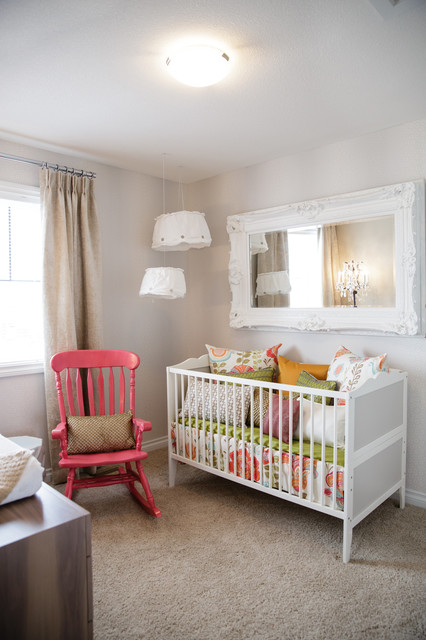 Glider Rocking Chairs Nursery Shabby Chic with Carpeting Carved Wood Ceiling Light Crib Girls Room Gray