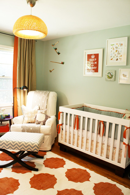 Glider Rocking Chairs Nursery Transitional with Area Rug Bold Colors Chevron Crib Bedding Gallery Wall