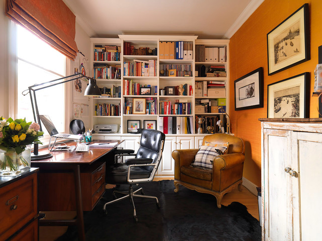 Gliding Chair Home Office Traditional with Black Animal Hide Rug Bookcase Built in Bookcase Wall