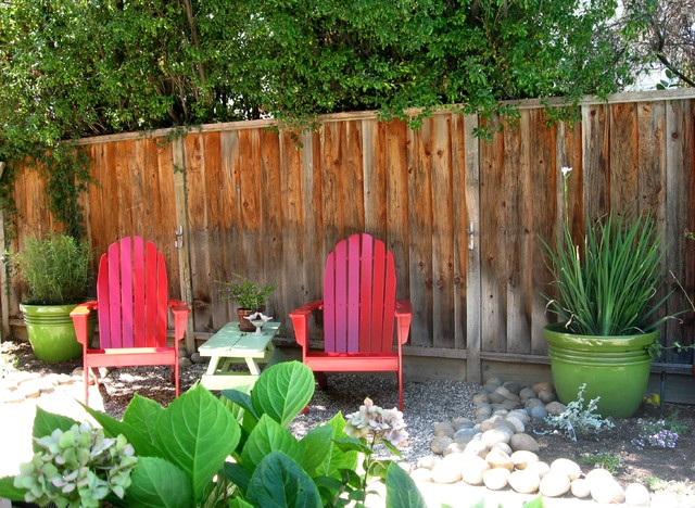 Gliding Rocking Chair Landscape Eclectic with Adirondack Chair Colorful Container Plants Drought Tolerant Gravel Hydrangeas