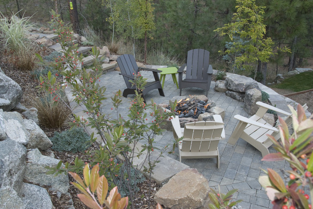 Gliding Rocking Chair Landscape Traditional with Adirondack Chairs Boulders Curved Patio Fire Pit Hillside Painted