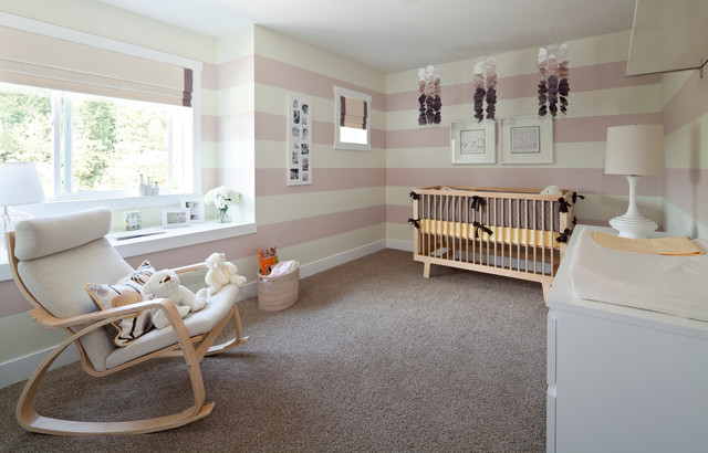 Gliding Rocking Chair Nursery Transitional with Baby Room Beige Roman Shade Beige Striped Wall Carpet