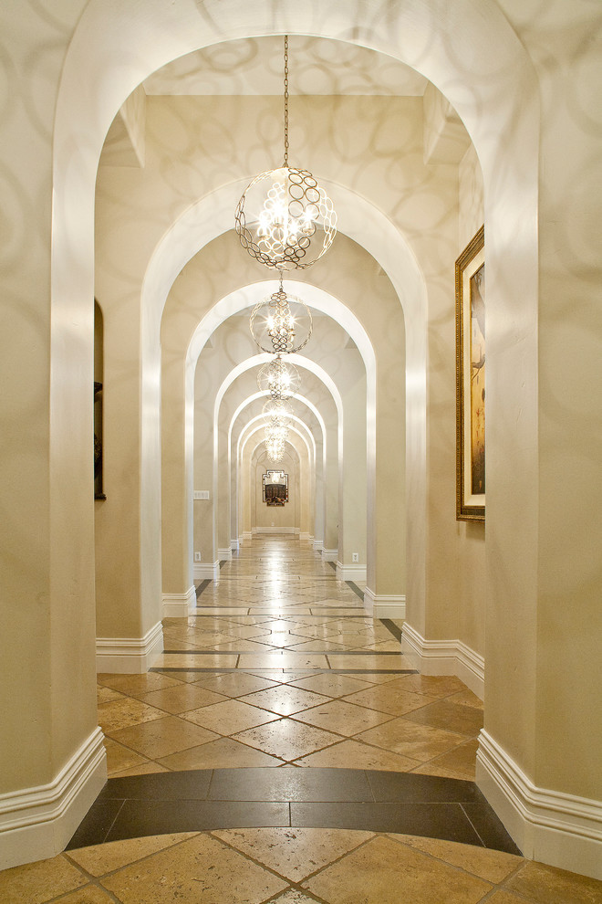 Globe Light Fixture Hall Traditional with Arch Arched Hallway Archway Beige Stone Floor