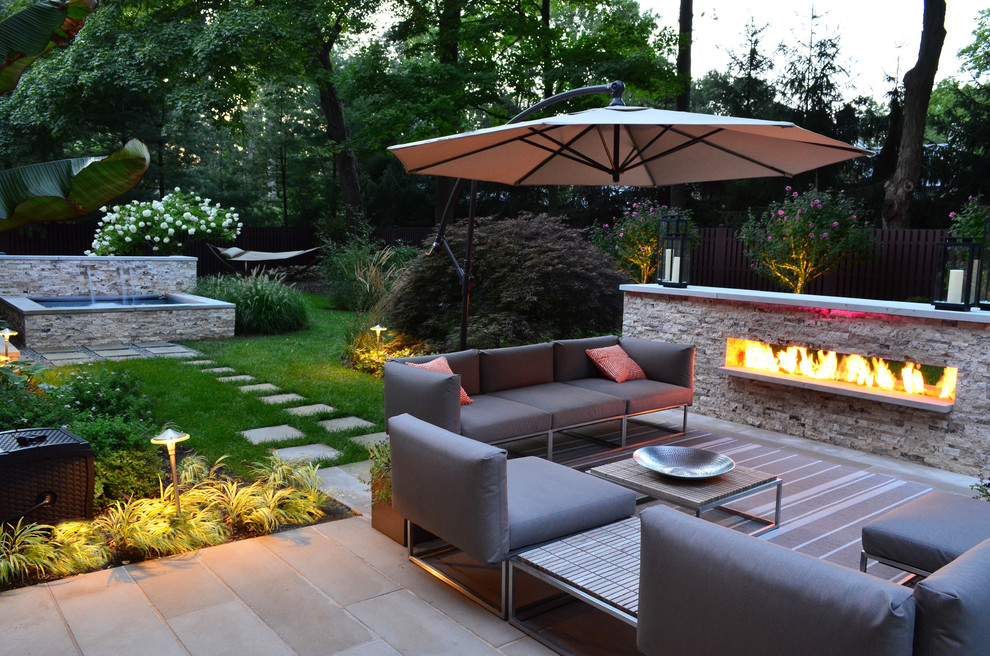 Gloster Furniture Landscape Transitional with Auto Pool Cover Fire Feature Fireplace Garden