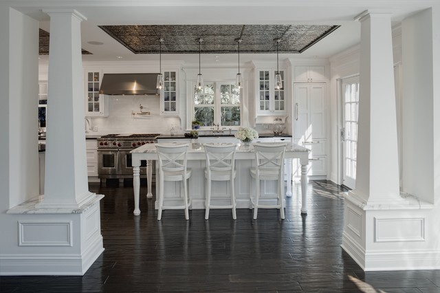 Glue Up Ceiling Tiles Kitchen Traditional with Breakfast Bar Cabinet Front Refrigerator Dark Floor Eat In