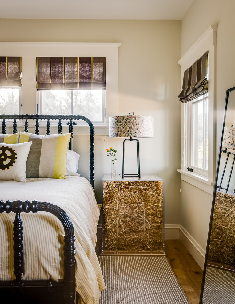Gold Nightstand Bedroom Transitional with Beige Bedding Beige Wall Black Bed Brown