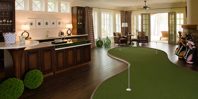 golf simulator reviews Family Room Traditional with bar curtain panels dark stained wood french doors golf