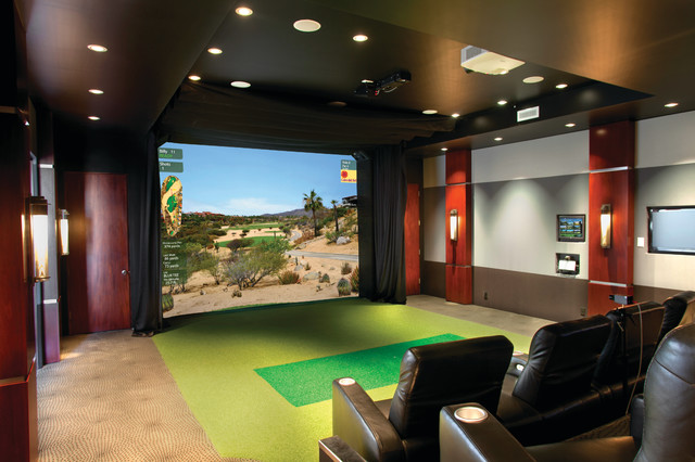Golf Simulator Reviews Home Theater Traditional with Amenity Den Entertainment Family Room Golf Golf Simulator Home