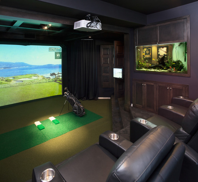 Golf Simulator Reviews Home Theater Traditional with Amenity Den Entertainment Family Room Golf Simulator Home Theatre