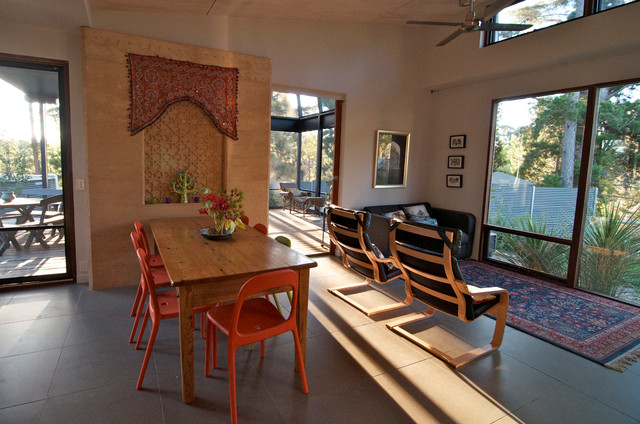 Goodman Heat Pump Dining Room Eclectic with Area Rug Carved Stone Ceiling Fan Efficient Experimental Farm