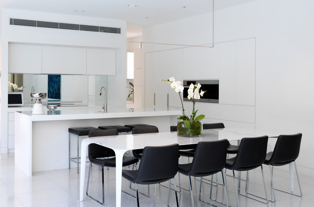 Goodman Heat Pump Kitchen Contemporary with Black Leather Dining Chairs Counter Stools Flush Cabinets High