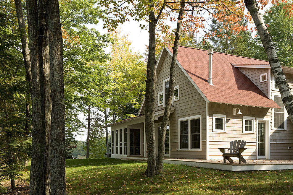 Gooseneck Barn Lights Exterior Traditional with Adirondack Chairs Cabin Cottage Deck Grass Lawn