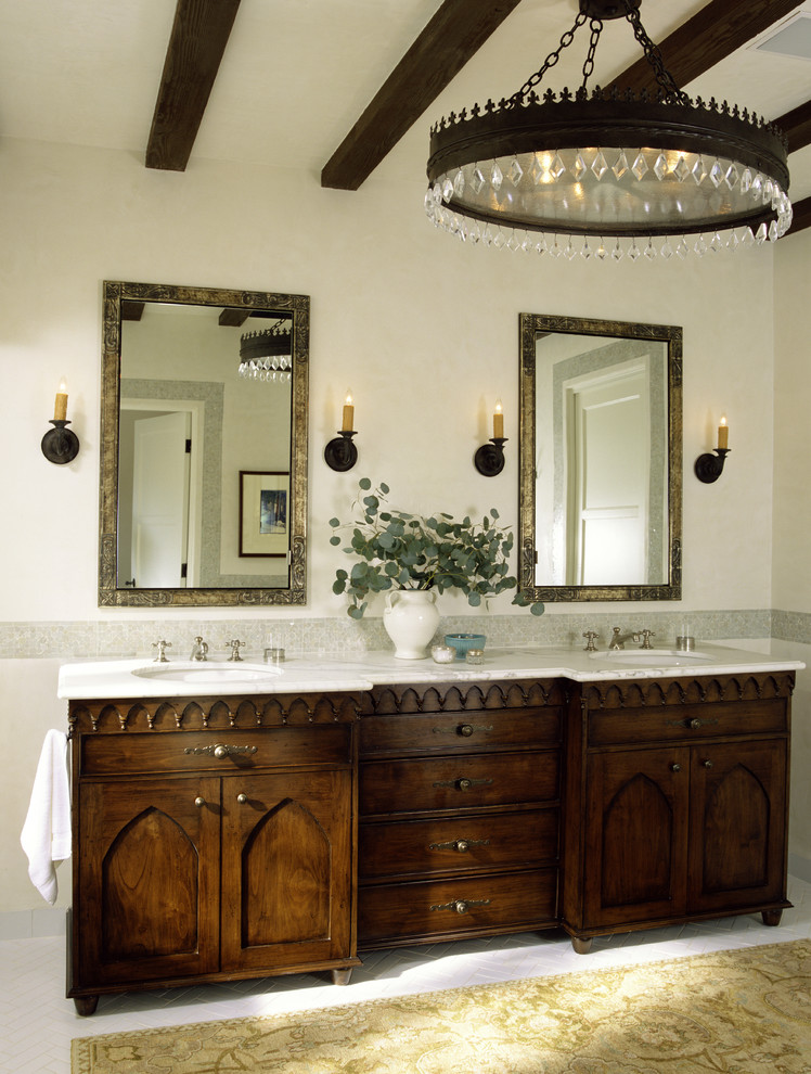 Gothic Chandelier Bathroom Mediterranean with Accent Tile Arched Cabinets Bathroom Lighting Bathroom