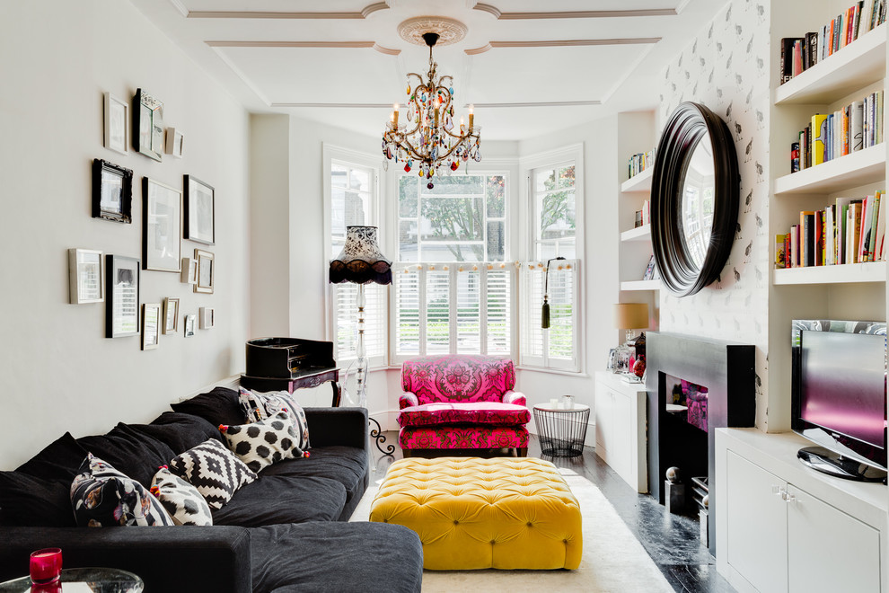 Gothic Chandelier Living Room Victorian with Black and White Black and White Frames