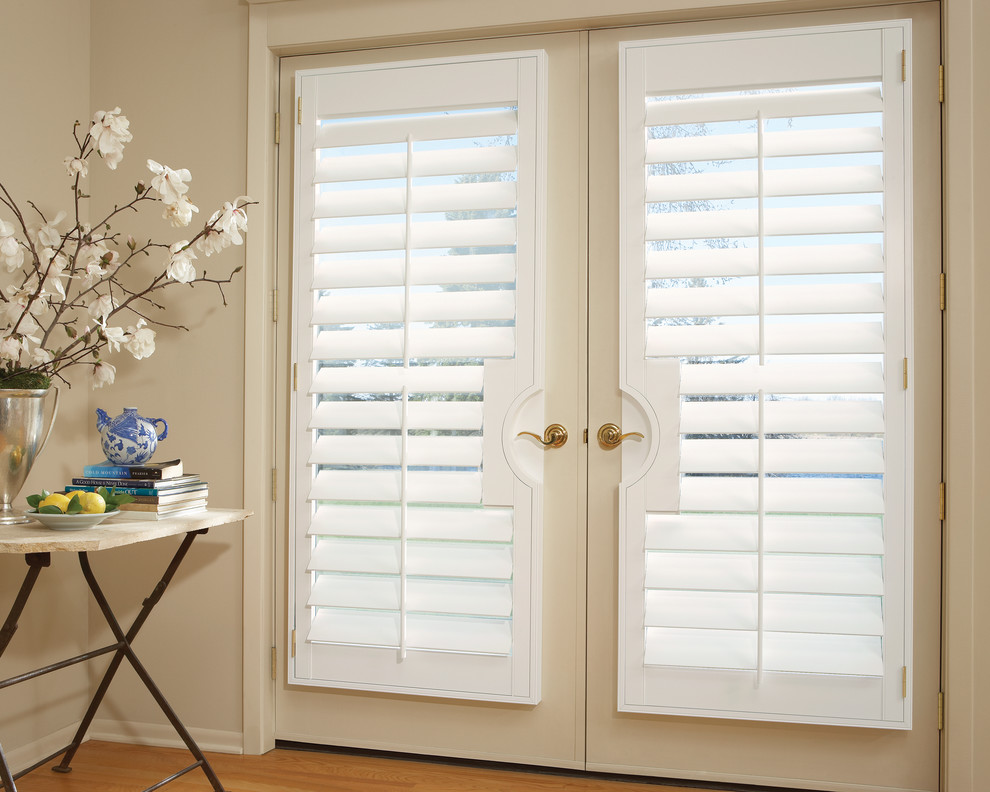 graber shutters Spaces Transitional with blinds for french doors board and batten