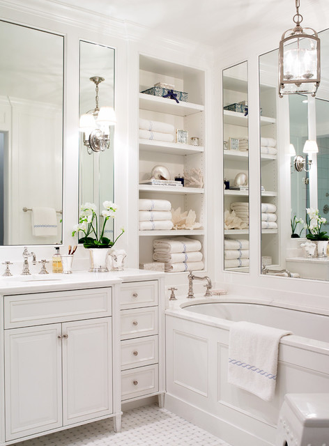 Gracious Goods Bathroom Traditional with Built in Bath Tub Built in Cabinets Built In